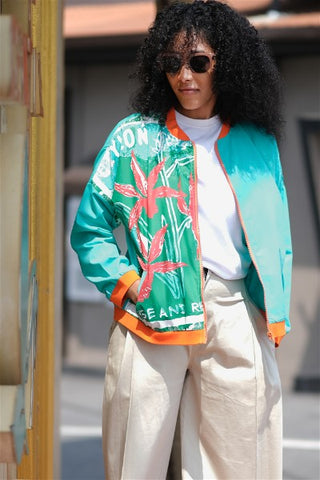 Ceylon Star Orchid Stamp Bomber Jacket