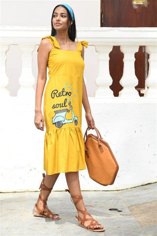 Retro Scooter Tie- up Midi  Dress