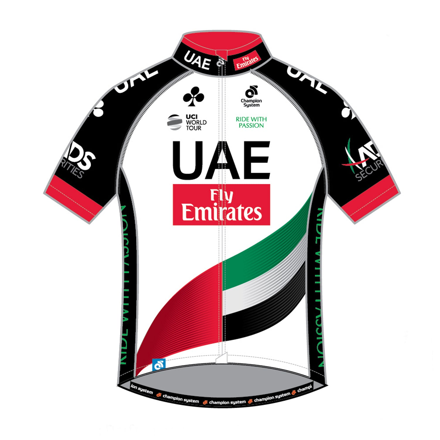 U.A.E. Team Emirates Mens Tech Pro Short Sleeve Cycling Jersey - Club Cut.