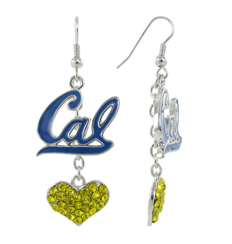 Navy Cal Lovers Fish Hook Earrings with Yellow Hearts