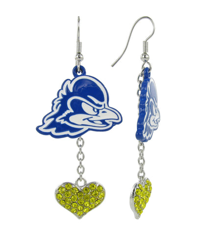 Royal Blue Delaware Lovers Fish Hook Earrings with Yellow Hearts