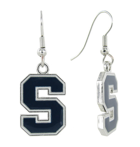 Navy Syracuse S Logo Fish Hook Earrings