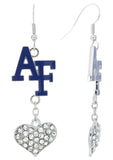 Air Force Academy AF Love Fish Hook Earrings with Clear Hearts