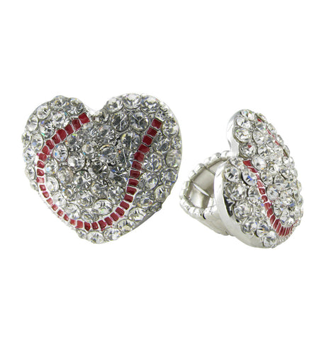 Love Baseball Heart Shaped Stretch Ring