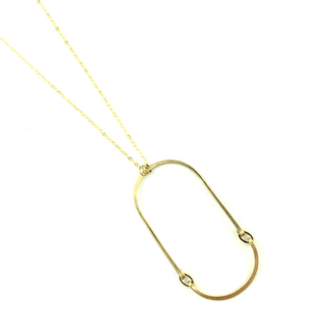 Elongated Oval Necklace Goldfill