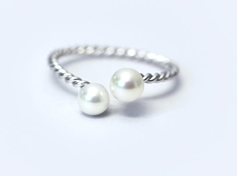 925 sterling silver  two pearl opening ring ,personalized fashion pearl ring,a perfect gift