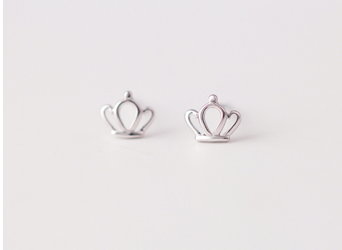 925 sterling silver crown earring Women's silver crwon earrings for gift