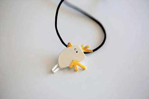 925 Sterling Silver adorable chicken necklace