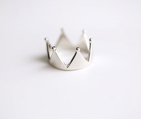 925 sterling silver crown (big triangle opening ring) silver ornaments exquisite individual character present
