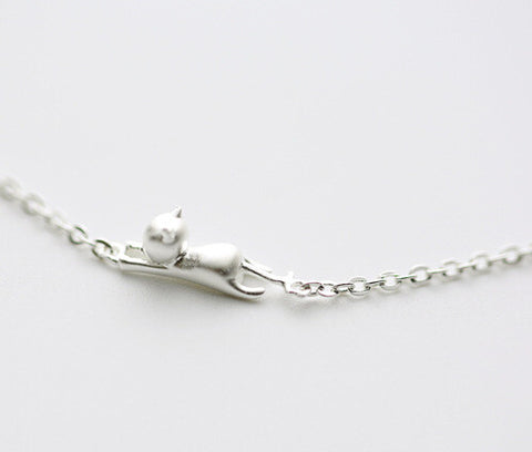 925 sterling silver 3 d cat bracelet, unique and lovely personality sterling silver bracelet, delicate and unique gift