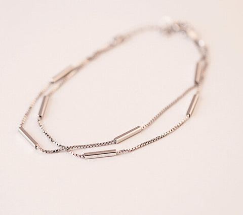 925 sterling silver bracelet, double chain smooth rectangle multilayer bracelet