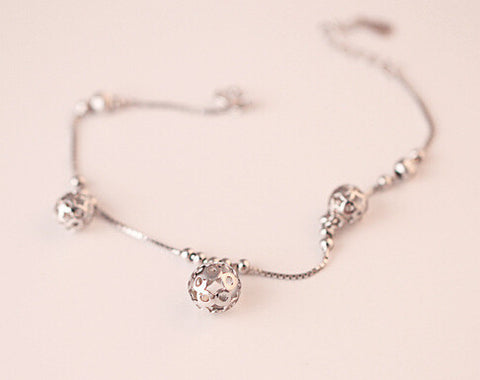 925 sterling silver bracelet, hollow out light bead bracelet