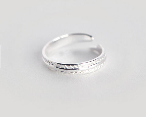 925 sterling silver Fashion leaves opening tail ring,a perfect gift