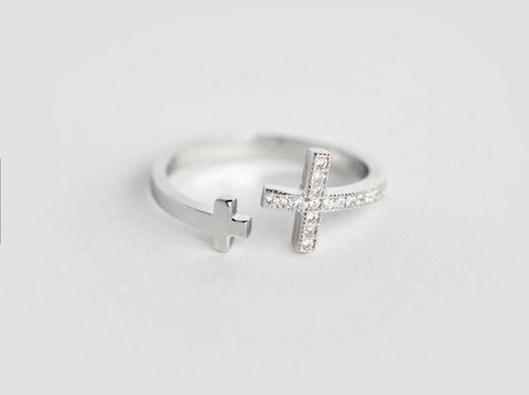 925 sterling silver cross zircon ring ,a perfect gift