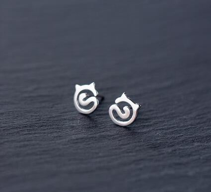 925 sterling silver cute cat heart earrings, a perfect gift