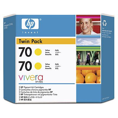 HP 70 CB345A Yellow Ink Cartridge Twin Pack 2 x C9454A - CoolGraphicStuff.com