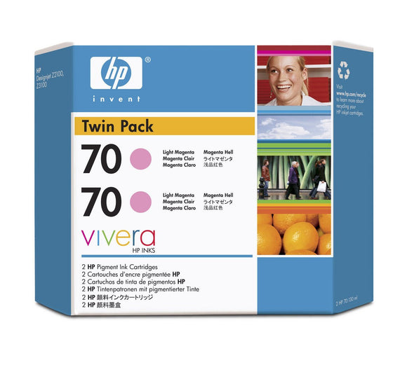 HP 70 CB346A Light Magenta Ink Cartridge Twin Pack - 2 x C9455A - CoolGraphicStuff.com