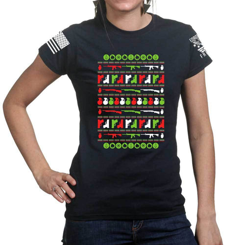 Guns Christmas Ugly Ladies T-shirt