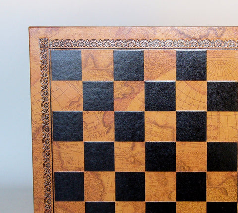 "13"" Pressed Leather Map Board - ChessWarehouse"