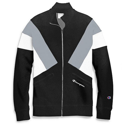 Champion Reverse Weave Colorblock Track Jacket- Black/Silverstone