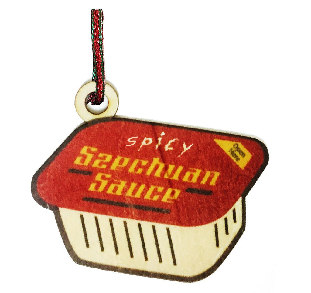Spicy Szechuan Sauce Red Painted Wooden Rear View Mirror Charm Dangler Ornament Gift Seasonal Decoration