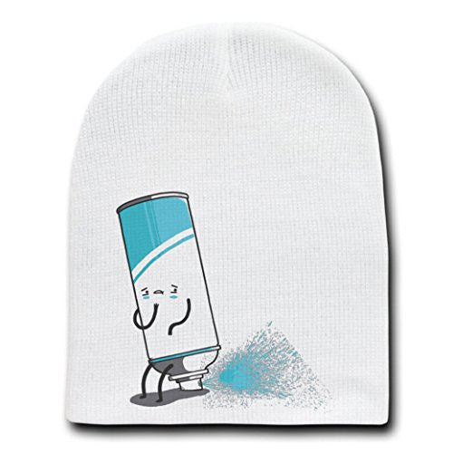 'Aerosoiled' Funny Aerosol Can Spraying Out Back End - White Beanie Skull Cap Hat