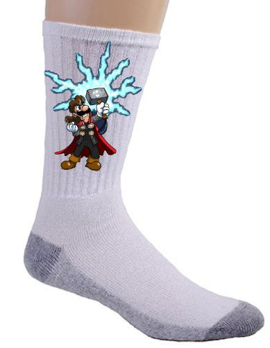 Video Game Parody 'The Plungers' As Norse Mythology GOD Comic Super Hero Movie Logo - Crew Socks