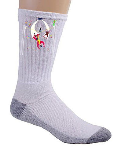 'Acrobats at Circus' Colorful Artwork - Crew Socks