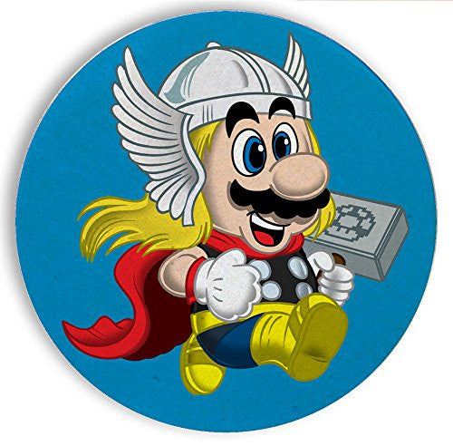 Ceramic Stone Coaster Coasters Set of Four - 'Plumber of Lightning' Hero & Game Parody