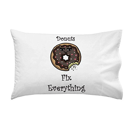 'Donuts Fix Everything' Food Humor Cartoon - Pillow Case Single Pillowcase