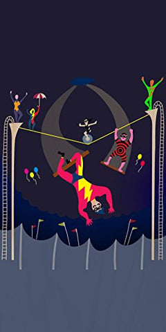 'Acrobats at Circus' Colorful Artwork - Plywood Wood Print Poster Wall Art