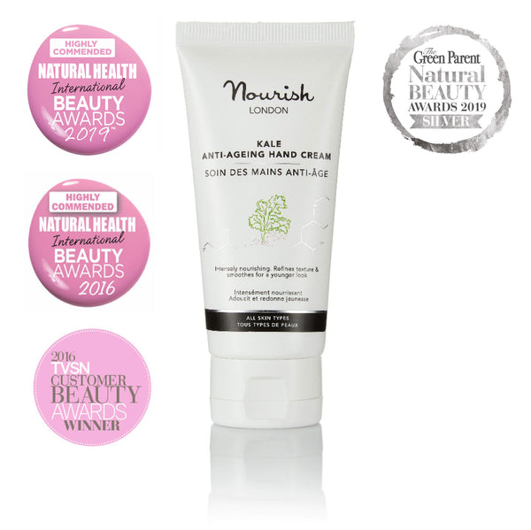 Nourish London Kale Anti-Ageing Hand Cream Award Winning Skincare: Natural Health Magazine International Beauty Awards Highly Commended 2019 Best Anti-Ageing Range, Green Parent Natural Beauty Awards 2019 Silver, Natural Health Magazine International Beauty Awards Highly Commended 2016, TVSN 2016 Customer Beauty Awards Best Hand, Nail & Body Category