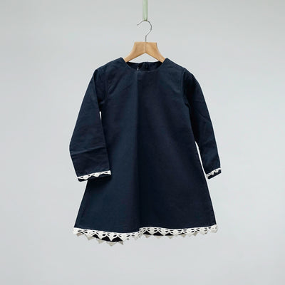 Navy Shift Dress with Bow