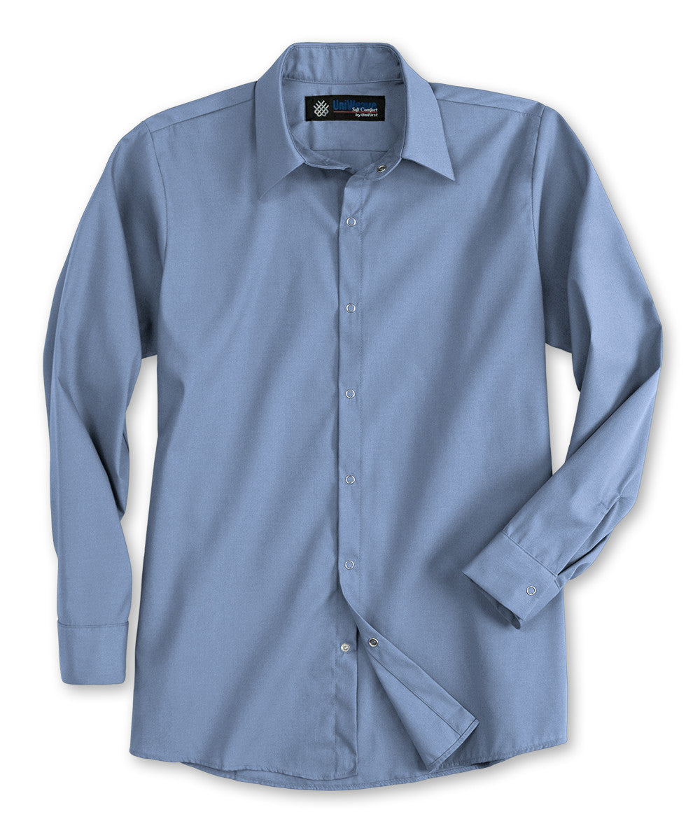 Light Blue UniWeave® Pocketless Food Service Shirts Shown in UniFirst Uniform Rental Service Catalog