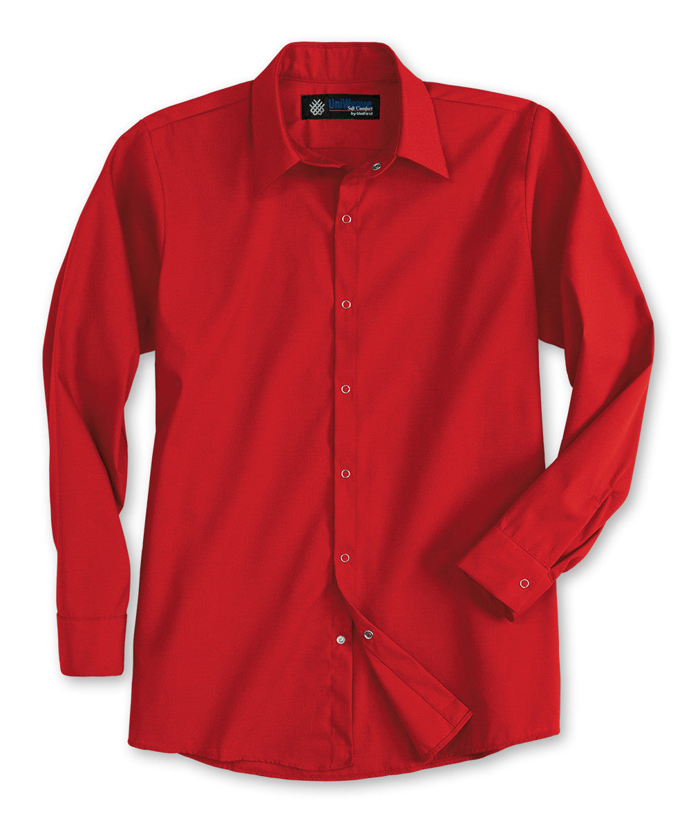 Red UniWeave® Pocketless Food Service Shirts Shown in UniFirst Uniform Rental Service Catalog