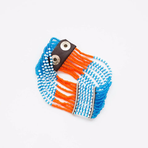 multi-color beaded cuff bracelet made in Kenya
