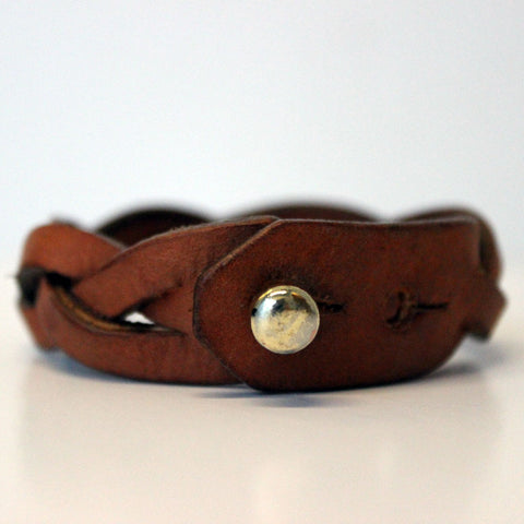 Handmade braided leather bracelet closure
