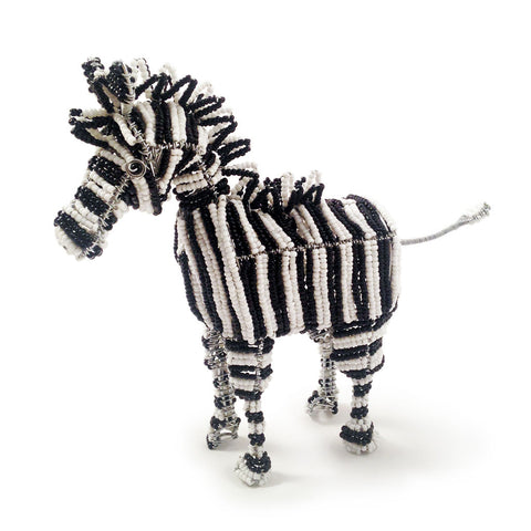 Beaded zebra made by the Khutsala artisans at Heart for Africa in Swaziland