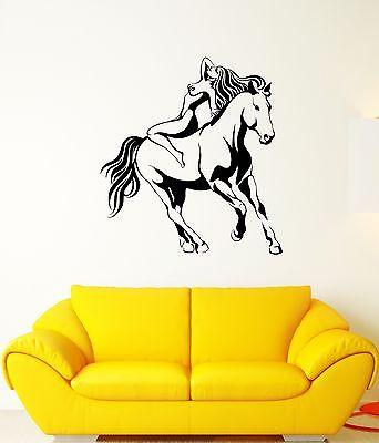 Wall Decal Sexy Girl Horse Nude Beauty Animal Woman Mural Vinyl Stickers Unique Gift (ed118)