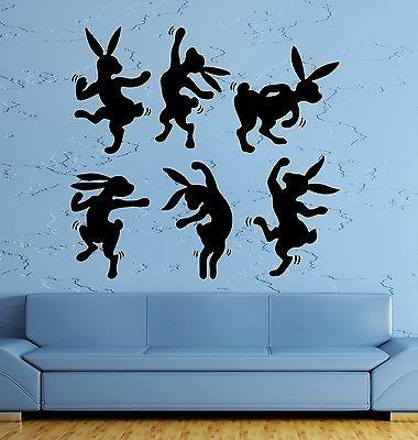 WWall Sticker Rabbit Animal Dance Dancing Cool Pop Art For Living Room Unique Gift (z2606)