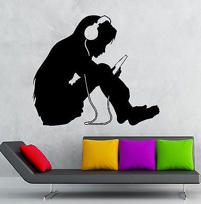 Teen Girl Wall Stickers Headphones Music Kids Room Nursery Vinyl Decal Unique Gift (ig2391)