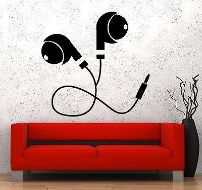Wall Vinyl Music Earphone Head Phones Headphones Guaranteed Quality Decal Unique Gift z3568