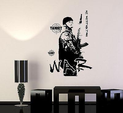 Wall Vinyl War Soldier Target Military Army Cool Decal Unique Gift (z3424)