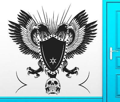 Wall Sticker Vinyl Decal Gothic Military Skull Eagle Shield Cool Decor Unique Gift (z2506)