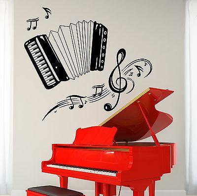 Wall Vinyl Music Accordion Set Of Notes Guaranteed Quality Decal Unique Gift (z3489)