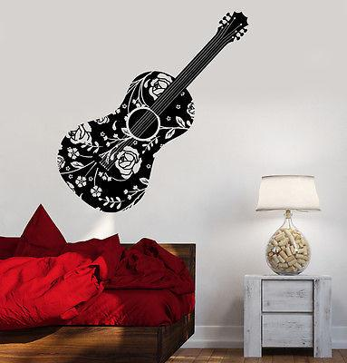 Wall Vinyl Music Guitar Flower Rose Floral Guaranteed Quality Decal Unique Gift (z3506)