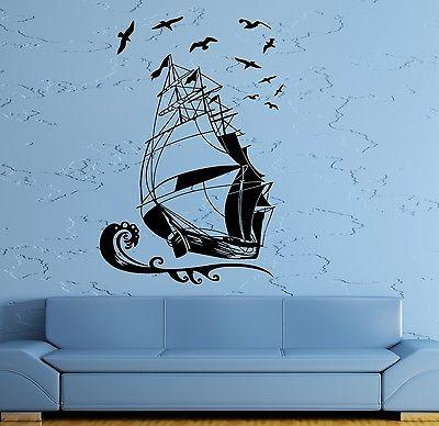 Wall Stickers Vinyl Decal Ship Yacht Marine Ocean Pirate Kids Room Unique Gift (ig960)