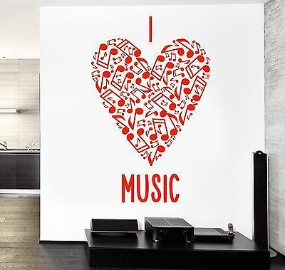 Wall Vinyl Music Heart With Notes Love Guaranteed Quality Decal Unique Gift (z3543)
