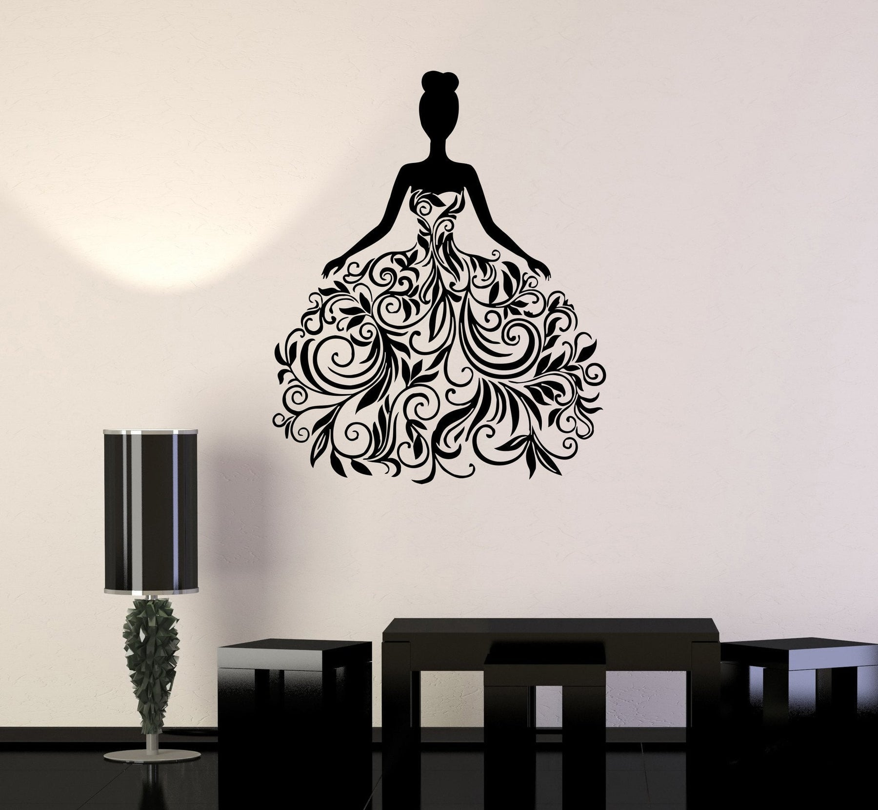 Vinyl Decal Wedding Dress Bridal Shop Woman Art Wall Stickers Mural Unique Gift (ig065)
