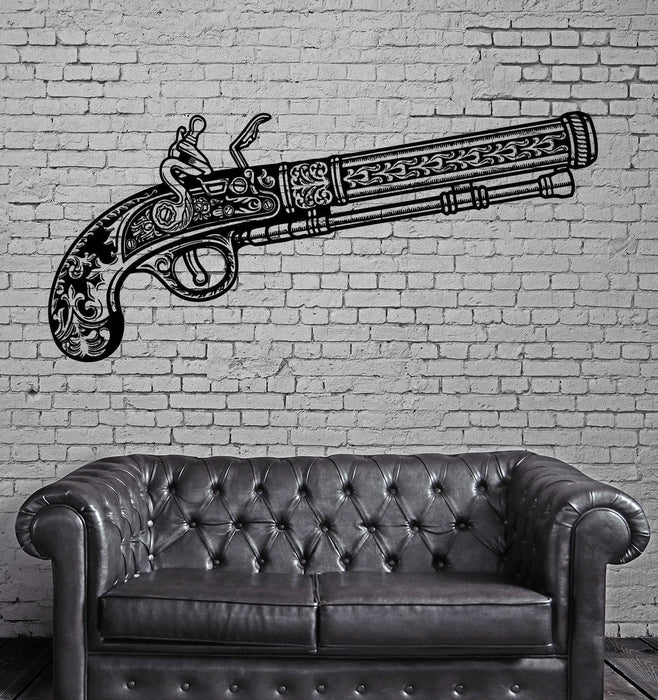 Revolver Wall Stickers Gun Weapon Vintage Pattern Vinyl Decal Unique Gift (ig2490)